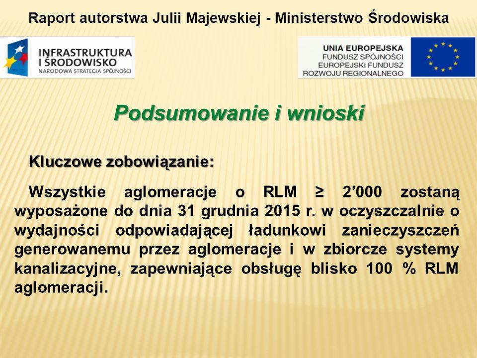 Kluczowe zobowiązanie: Wszystkie aglomeracje o RLM 2000 zostaną wyposażone do dnia 31 grudnia 2015 r. w oczyszczalnie o wydajności odpowiadającej ładu