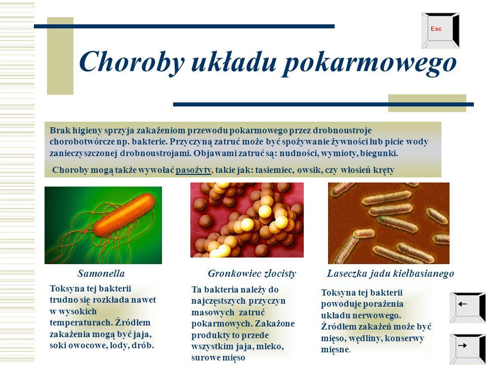Choroby układu pokarmowego Brak higieny sprzyja zakażeniom przewodu pokarmowego przez drobnoustroje chorobotwórcze np.