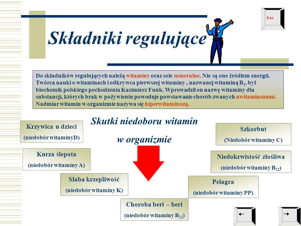 Składniki regulujące Do składników regulujących należą witaminy oraz sole mineralne. Nie są one źródłem energii. Twórca nauki o witaminach i odkrywca