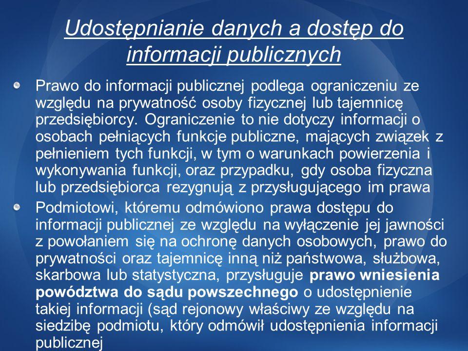 Udostępnianie danych a dostęp do informacji publicznych Prawo do informacji publicznej podlega ograniczeniu ze względu na prywatność osoby fizycznej l