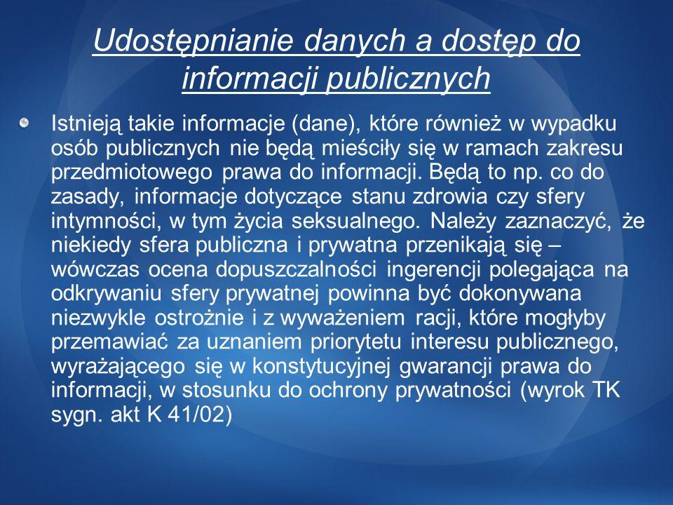 Udostępnianie danych a dostęp do informacji publicznych Istnieją takie informacje (dane), które również w wypadku osób publicznych nie będą mieściły s