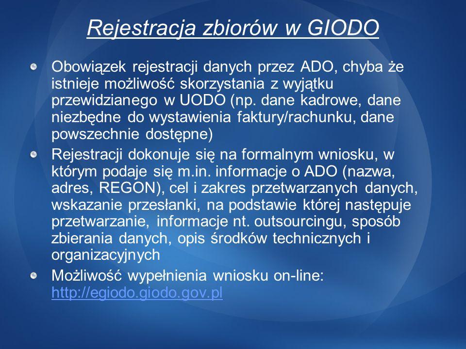Obowiązek rejestracji danych przez ADO, chyba że istnieje możliwość skorzystania z wyjątku przewidzianego w UODO (np. dane kadrowe, dane niezbędne do