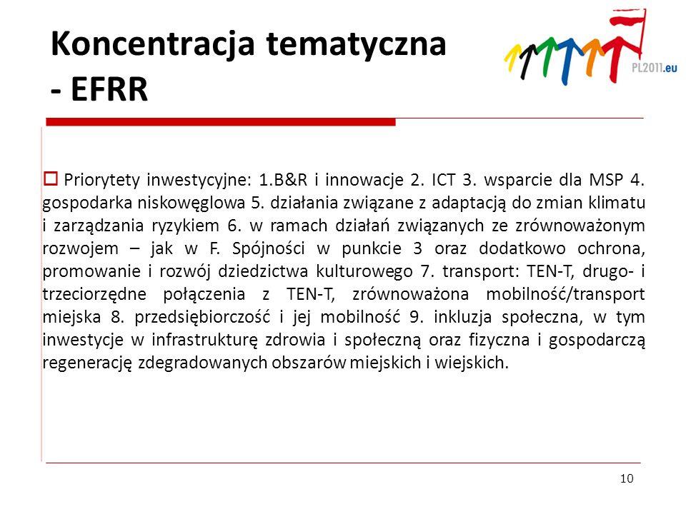 Koncentracja tematyczna - EFRR Priorytety inwestycyjne: 1.B&R i innowacje 2. ICT 3. wsparcie dla MSP 4. gospodarka niskowęglowa 5. działania związane
