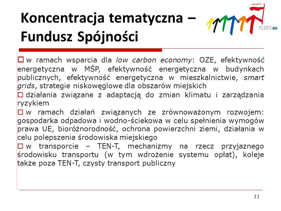 Koncentracja tematyczna – Fundusz Spójności w ramach wsparcia dla low carbon economy: OZE, efektywność energetyczna w MŚP, efektywność energetyczna w