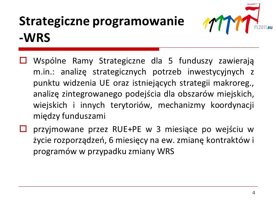 Strategiczne programowanie -WRS Wspólne Ramy Strategiczne dla 5 funduszy zawierają m.in.: analizę strategicznych potrzeb inwestycyjnych z punktu widze