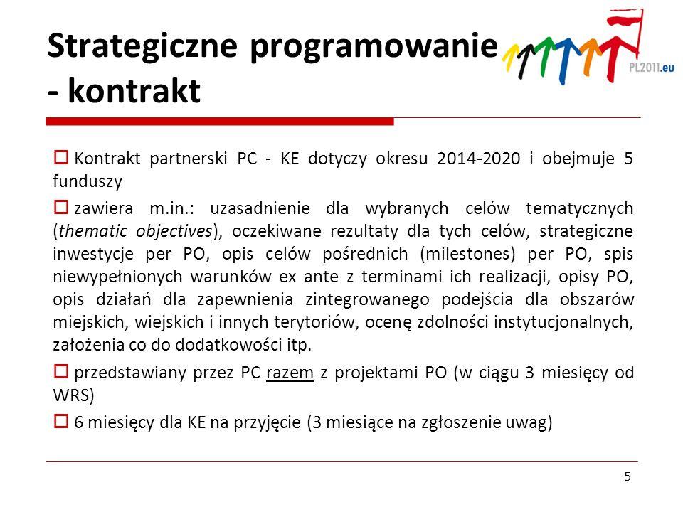 Strategiczne programowanie - kontrakt Kontrakt partnerski PC - KE dotyczy okresu 2014-2020 i obejmuje 5 funduszy zawiera m.in.: uzasadnienie dla wybra