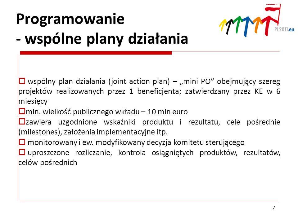 Programowanie - wspólne plany działania wspólny plan działania (joint action plan) – mini PO obejmujący szereg projektów realizowanych przez 1 benefic