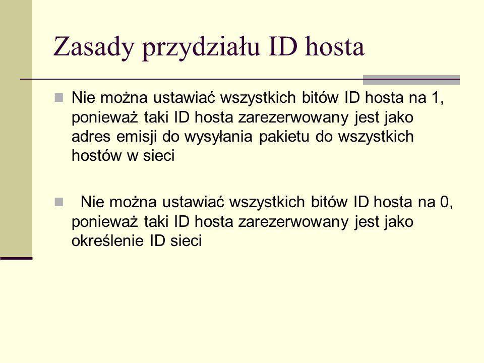Zasady przydziału ID hosta Nie można ustawiać wszystkich bitów ID hosta na 1, ponieważ taki ID hosta zarezerwowany jest jako adres emisji do wysyłania
