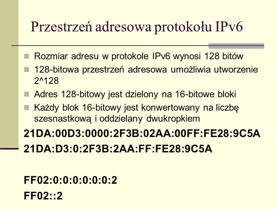 Przestrzeń adresowa protokołu IPv6 Rozmiar adresu w protokole IPv6 wynosi 128 bitów 128-bitowa przestrzeń adresowa umożliwia utworzenie 2^128 Adres 12