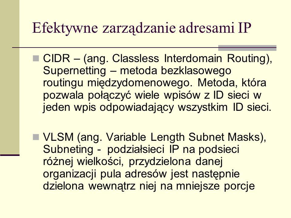 Efektywne zarządzanie adresami IP CIDR – (ang. Classless Interdomain Routing), Supernetting – metoda bezklasowego routingu międzydomenowego. Metoda, k