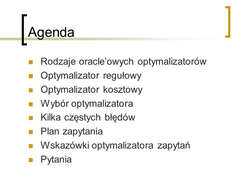 Agenda Rodzaje oracleowych optymalizatorów Optymalizator regułowy Optymalizator kosztowy Wybór optymalizatora Kilka częstych błędów Plan zapytania Wsk