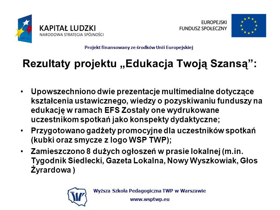 Wyższa Szkoła Pedagogiczna TWP w Warszawie www.wsptwp.eu Projekt finansowany ze środków Unii Europejskiej Rezultaty projektu Edukacja Twoją Szansą: Up