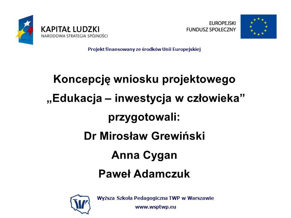 Wyższa Szkoła Pedagogiczna TWP w Warszawie www.wsptwp.eu Projekt finansowany ze środków Unii Europejskiej Koncepcję wniosku projektowego Edukacja – in