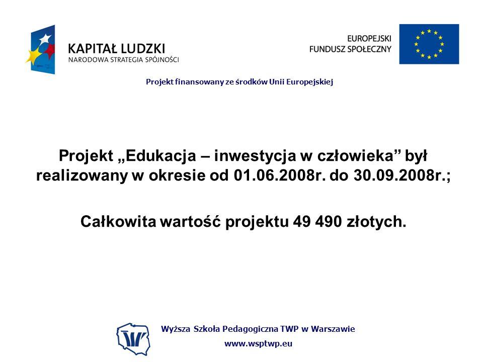 Wyższa Szkoła Pedagogiczna TWP w Warszawie www.wsptwp.eu Projekt finansowany ze środków Unii Europejskiej Projekt Edukacja – inwestycja w człowieka by