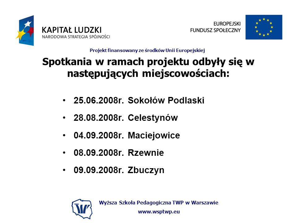 Wyższa Szkoła Pedagogiczna TWP w Warszawie www.wsptwp.eu Projekt finansowany ze środków Unii Europejskiej Spotkania w ramach projektu odbyły się w nas