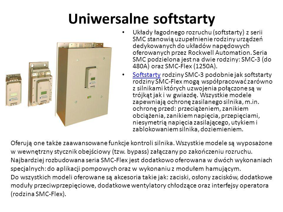 Uniwersalne softstarty Układy łagodnego rozruchu (softstarty) z serii SMC stanowią uzupełnienie rodziny urządzeń dedykowanych do układów napędowych of