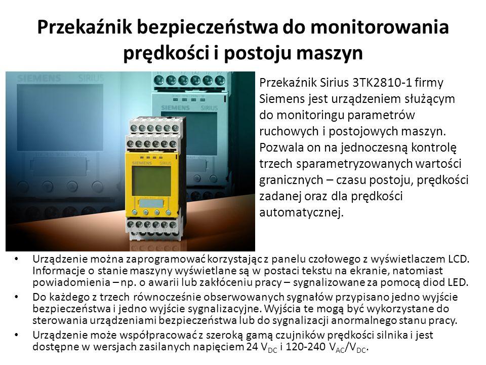 Przekaźnik bezpieczeństwa do monitorowania prędkości i postoju maszyn Urządzenie można zaprogramować korzystając z panelu czołowego z wyświetlaczem LC
