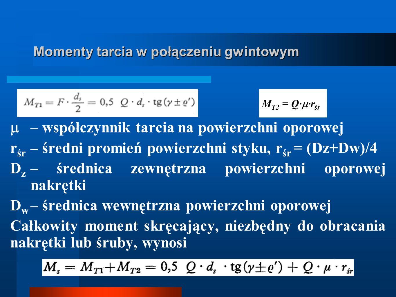 Momenty tarcia w połączeniu gwintowym – współczynnik tarcia na powierzchni oporowej r śr – średni promień powierzchni styku, r śr = (Dz+Dw)/4 D z – śr