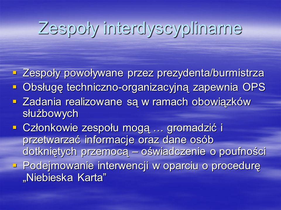 Zespoły interdyscyplinarne Zespoły powoływane przez prezydenta/burmistrza Zespoły powoływane przez prezydenta/burmistrza Obsługę techniczno-organizacy
