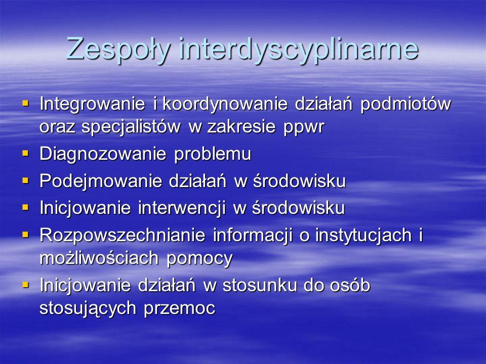 Zespoły interdyscyplinarne Integrowanie i koordynowanie działań podmiotów oraz specjalistów w zakresie ppwr Integrowanie i koordynowanie działań podmi
