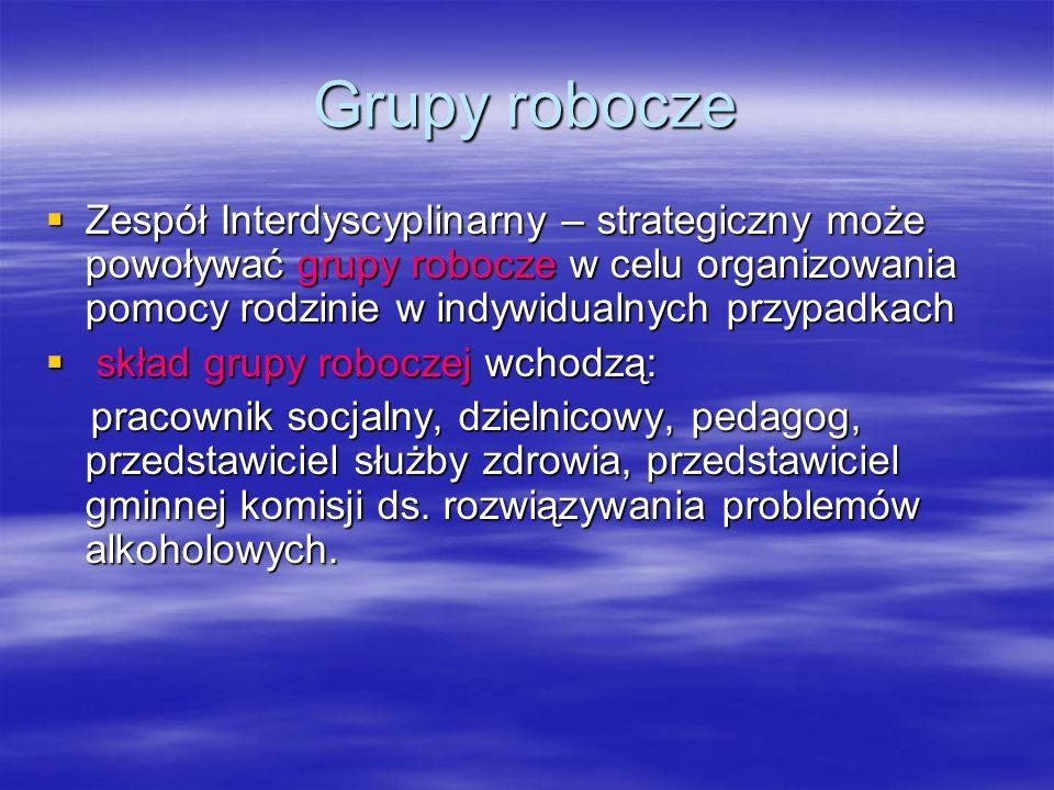 Grupy robocze Zespół Interdyscyplinarny – strategiczny może powoływać grupy robocze w celu organizowania pomocy rodzinie w indywidualnych przypadkach