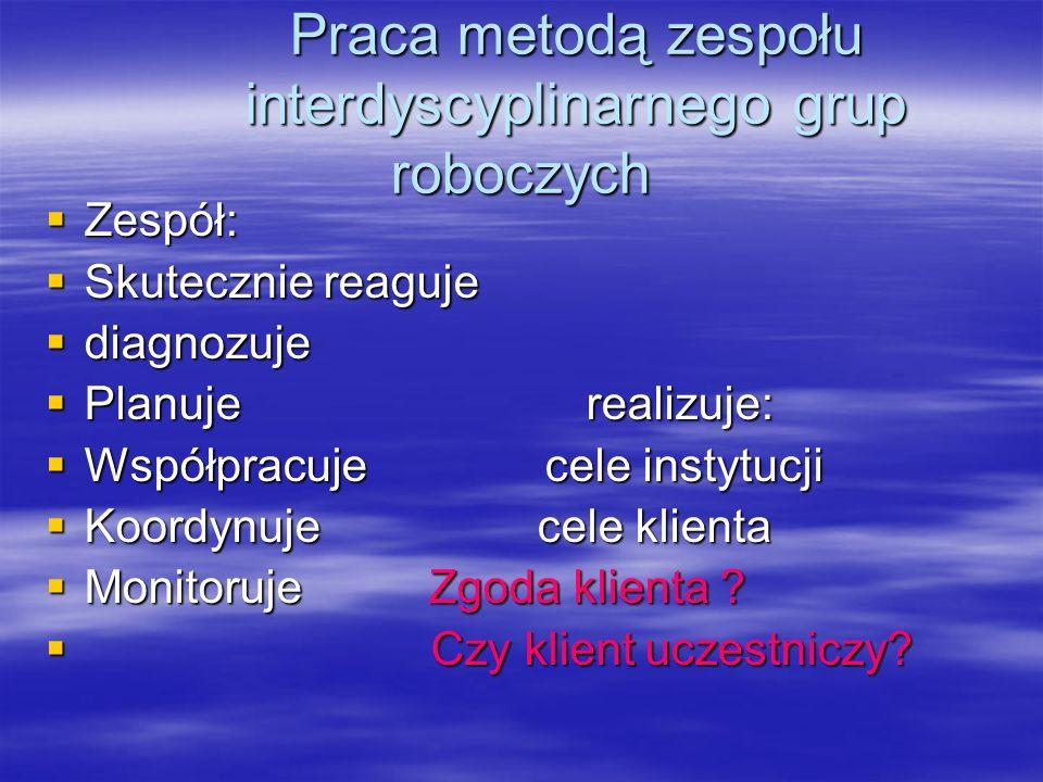 Praca metodą zespołu interdyscyplinarnego grup roboczych Praca metodą zespołu interdyscyplinarnego grup roboczych Zespół: Zespół: Skutecznie reaguje S