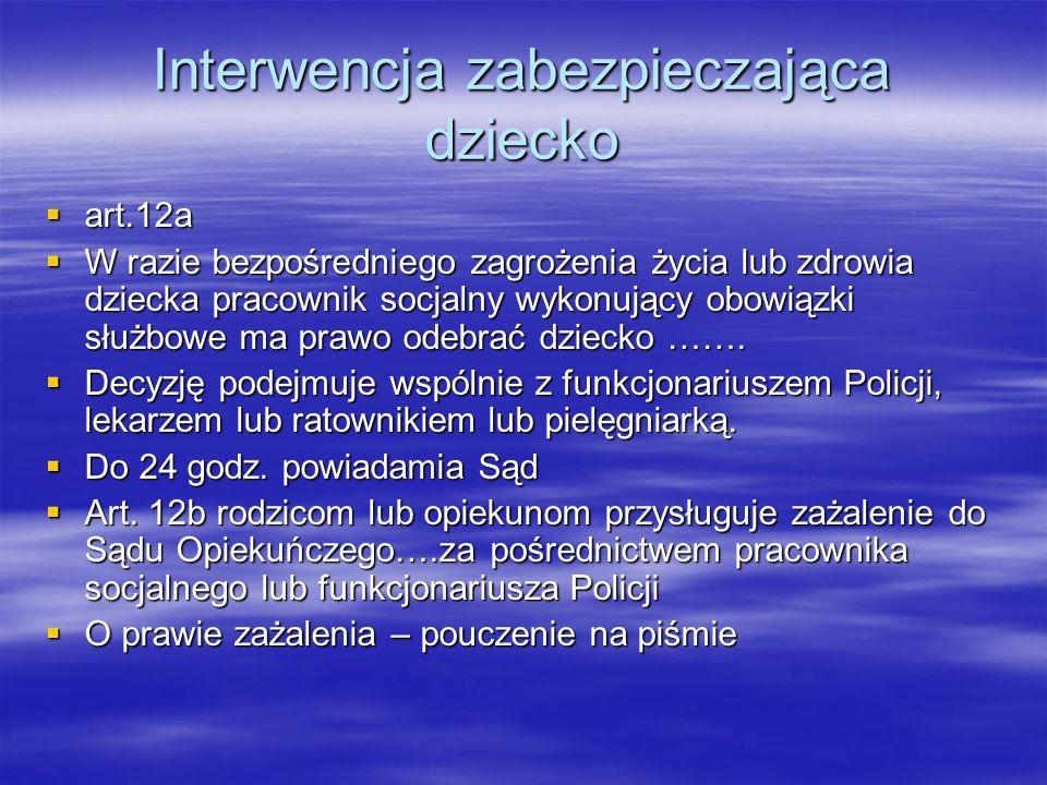 Interwencja zabezpieczająca dziecko art.12a art.12a W razie bezpośredniego zagrożenia życia lub zdrowia dziecka pracownik socjalny wykonujący obowiązk