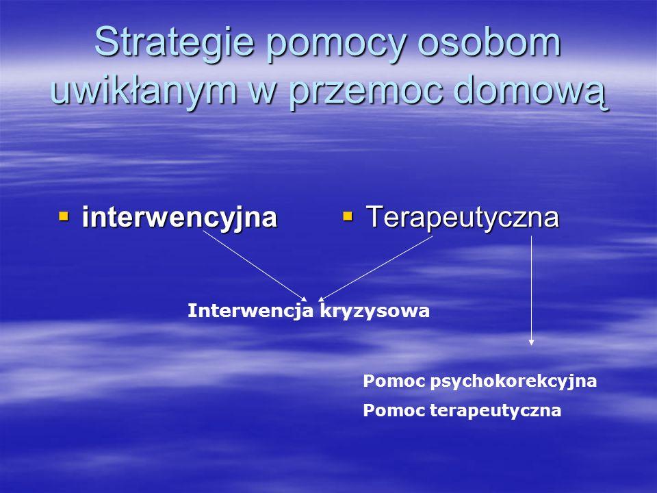 Strategie pomocy osobom uwikłanym w przemoc domową interwencyjna interwencyjna Terapeutyczna Terapeutyczna Interwencja kryzysowa Pomoc psychokorekcyjn