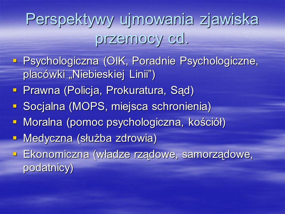 Perspektywy ujmowania zjawiska przemocy cd. Psychologiczna (OIK, Poradnie Psychologiczne, placówki Niebieskiej Linii) Psychologiczna (OIK, Poradnie Ps