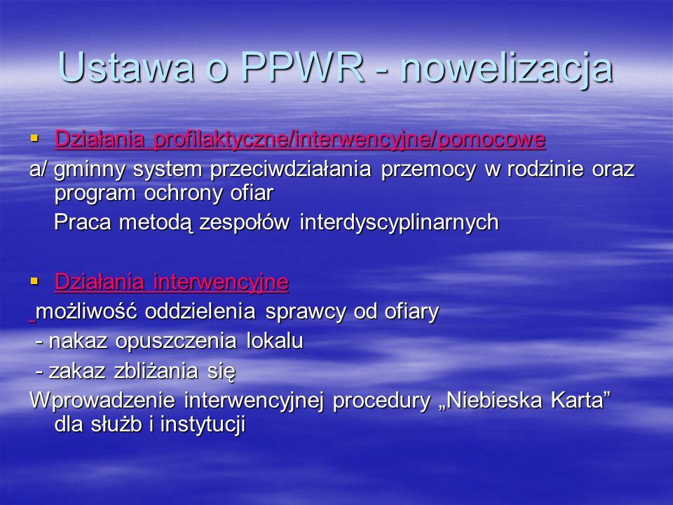 Ustawa o PPWR - nowelizacja Działania profilaktyczne/interwencyjne/pomocowe Działania profilaktyczne/interwencyjne/pomocowe a/ gminny system przeciwdz