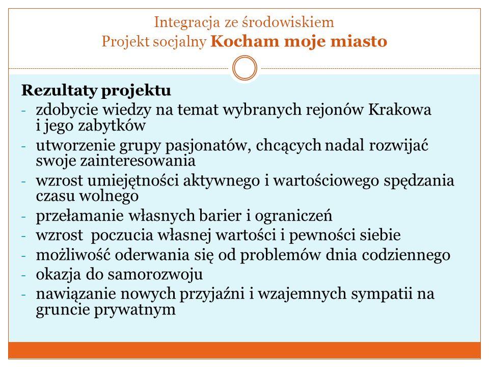 Integracja ze środowiskiem Projekt socjalny Kocham moje miasto Rezultaty projektu - zdobycie wiedzy na temat wybranych rejonów Krakowa i jego zabytków