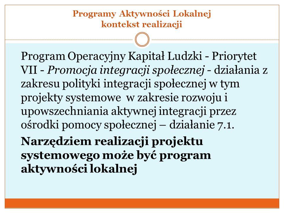 Programy Aktywności Lokalnej kontekst realizacji Program Operacyjny Kapitał Ludzki - Priorytet VII - Promocja integracji społecznej - działania z zakr