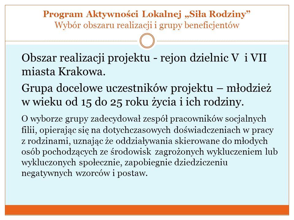 Program Aktywności Lokalnej Siła Rodziny Wybór obszaru realizacji i grupy beneficjentów Obszar realizacji projektu - rejon dzielnic V i VII miasta Kra