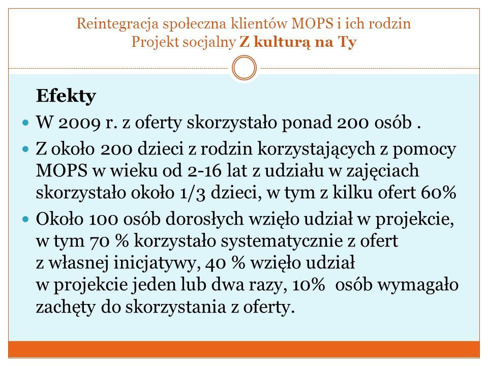 Reintegracja społeczna klientów MOPS i ich rodzin Projekt socjalny Z kulturą na Ty Efekty W 2009 r. z oferty skorzystało ponad 200 osób. Z około 200 d