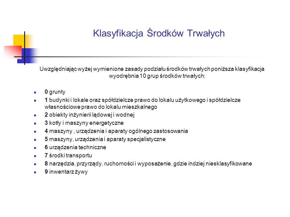 Klasyfikacja Środków Trwałych Uwzględniając wyżej wymienione zasady podziału środków trwałych poniższa klasyfikacja wyodrębnia 10 grup środków trwałyc