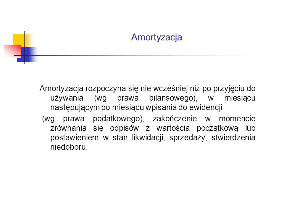 Amortyzacja Amortyzacja rozpoczyna się nie wcześniej niż po przyjęciu do używania (wg prawa bilansowego), w miesiącu następującym po miesiącu wpisania