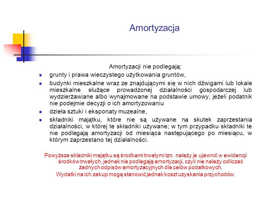 Amortyzacja Amortyzacji nie podlegają: grunty i prawa wieczystego użytkowania gruntów, budynki mieszkalne wraz ze znajdującymi się w nich dźwigami lub