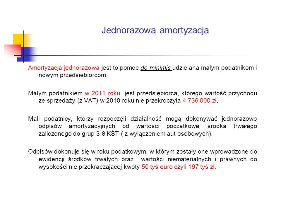 Jednorazowa amortyzacja Amortyzacja jednorazowa jest to pomoc de minimis udzielana małym podatnikom i nowym przedsiębiorcom. Małym podatnikiem w 2011