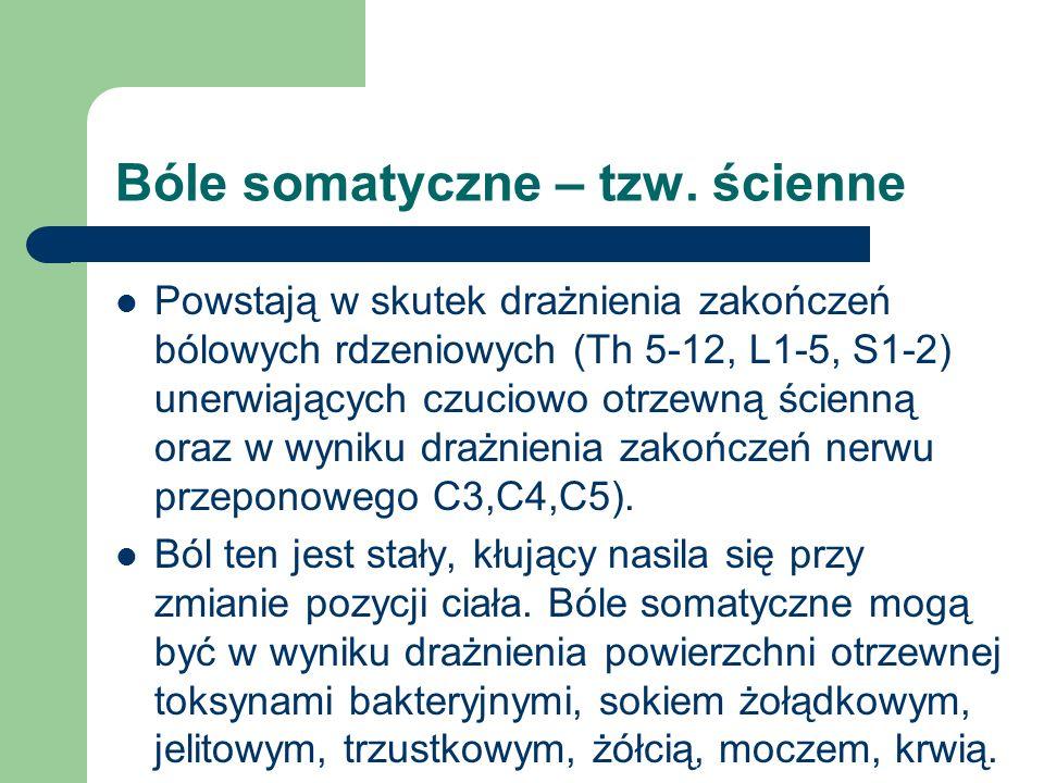 Bóle somatyczne – tzw. ścienne Powstają w skutek drażnienia zakończeń bólowych rdzeniowych (Th 5-12, L1-5, S1-2) unerwiających czuciowo otrzewną ścien