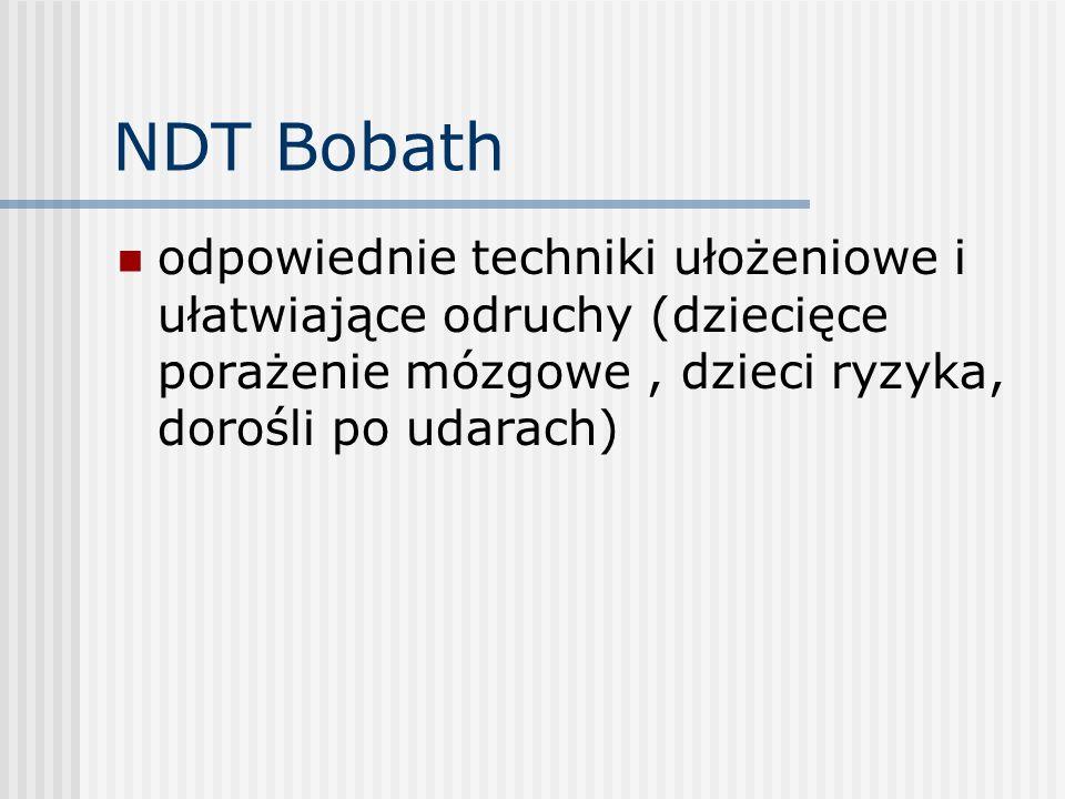 NDT Bobath odpowiednie techniki ułożeniowe i ułatwiające odruchy (dziecięce porażenie mózgowe, dzieci ryzyka, dorośli po udarach)