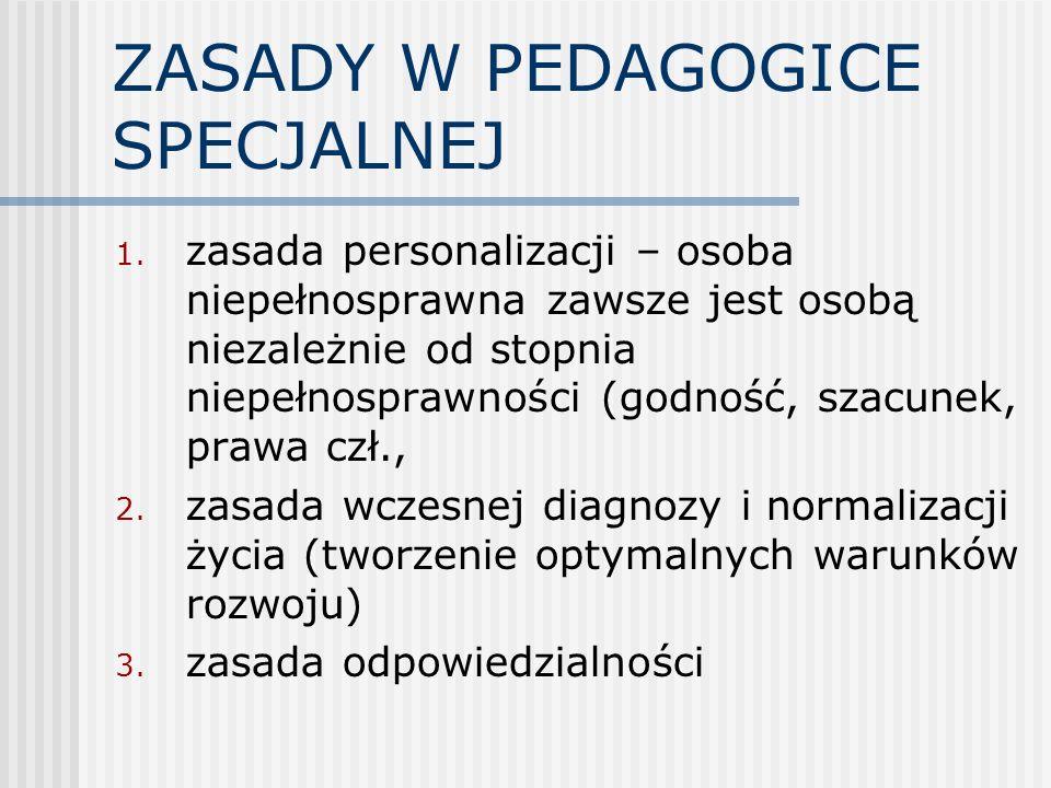 ZASADY W PEDAGOGICE SPECJALNEJ 1. zasada personalizacji – osoba niepełnosprawna zawsze jest osobą niezależnie od stopnia niepełnosprawności (godność,