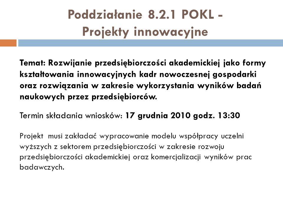 Poddziałanie 8.2.1 POKL - Projekty innowacyjne Temat: Rozwijanie przedsiębiorczości akademickiej jako formy kształtowania innowacyjnych kadr nowoczesn