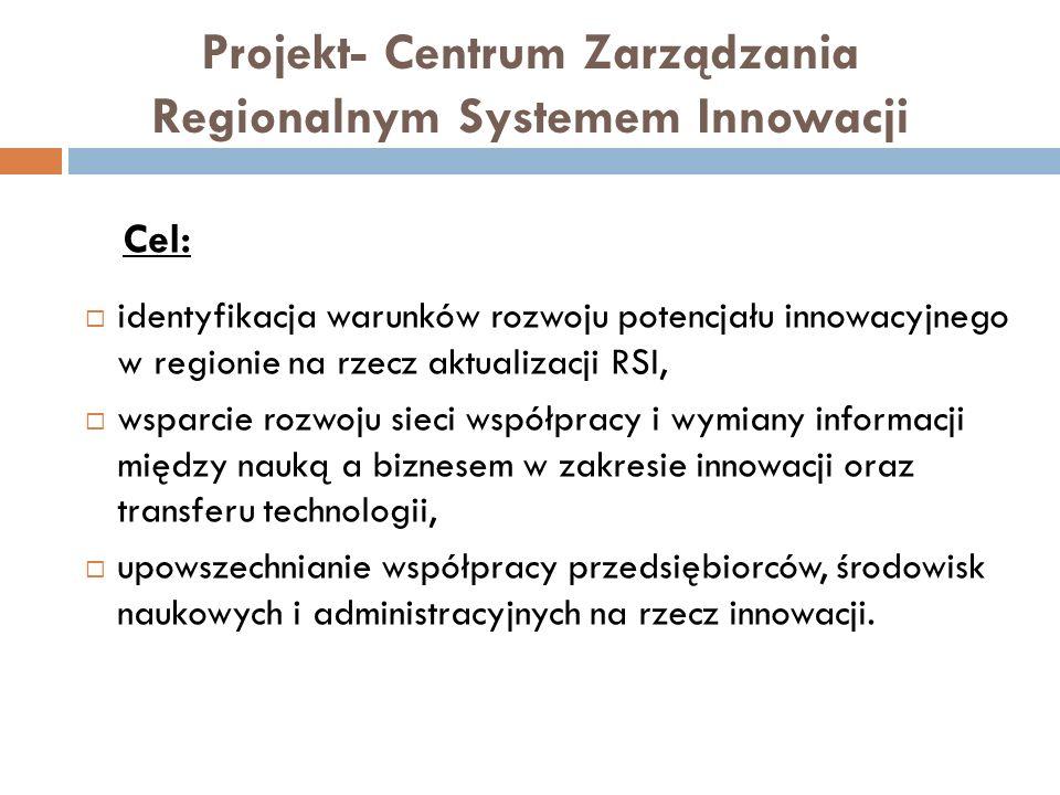 Projekt- Centrum Zarządzania Regionalnym Systemem Innowacji Cel: identyfikacja warunków rozwoju potencjału innowacyjnego w regionie na rzecz aktualiza
