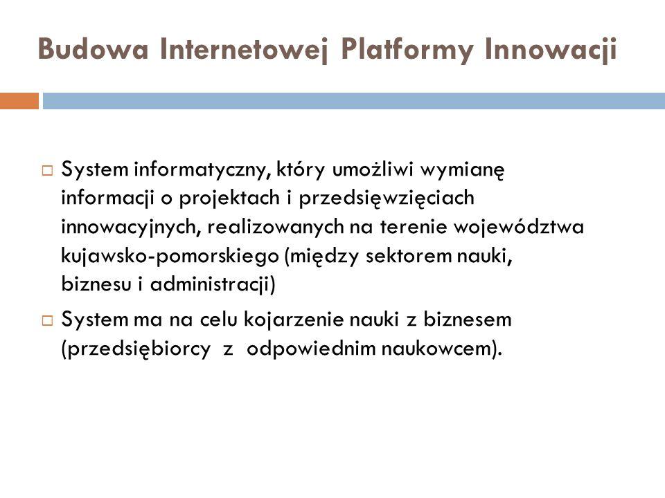 Budowa Internetowej Platformy Innowacji System informatyczny, który umożliwi wymianę informacji o projektach i przedsięwzięciach innowacyjnych, realiz