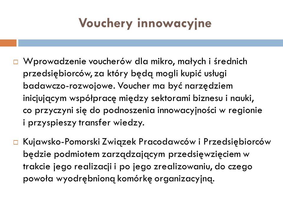 Vouchery innowacyjne Wprowadzenie voucherów dla mikro, małych i średnich przedsiębiorców, za który będą mogli kupić usługi badawczo-rozwojowe. Voucher