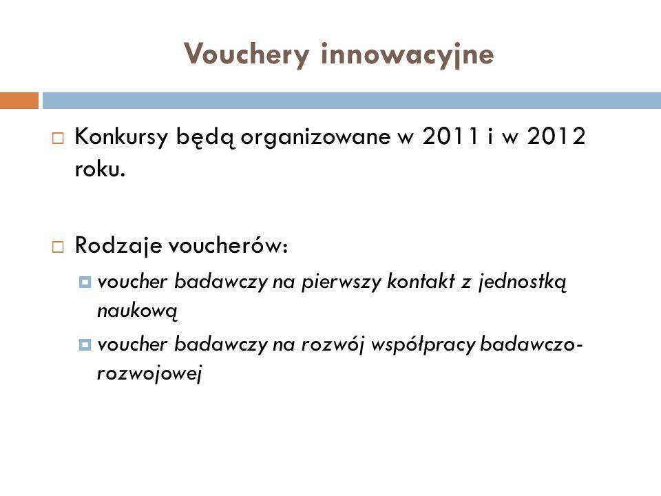 Vouchery innowacyjne Konkursy będą organizowane w 2011 i w 2012 roku. Rodzaje voucherów: voucher badawczy na pierwszy kontakt z jednostką naukową vouc