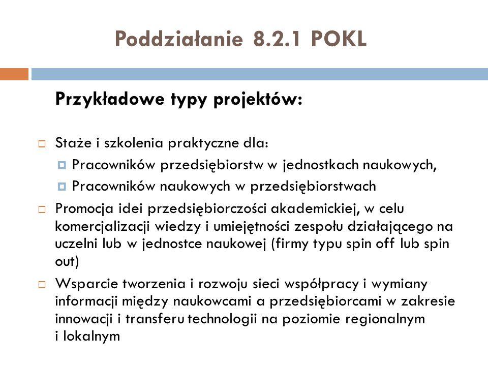 Poddziałanie 8.2.1 POKL Przykładowe typy projektów: Staże i szkolenia praktyczne dla: Pracowników przedsiębiorstw w jednostkach naukowych, Pracowników