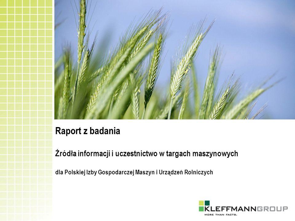 Realizacja terenowa Lipiec – sierpień 2010 Grupa docelowa Rolnicy uprawiający zboża (pytania dodatkowe panelu zbożowego AMIS 2010) Technika zbierania danych Wywiad bezpośredni z osobą odpowiedzialną za prowadzenie gospodarstwa Problematyka badawcza 1.
