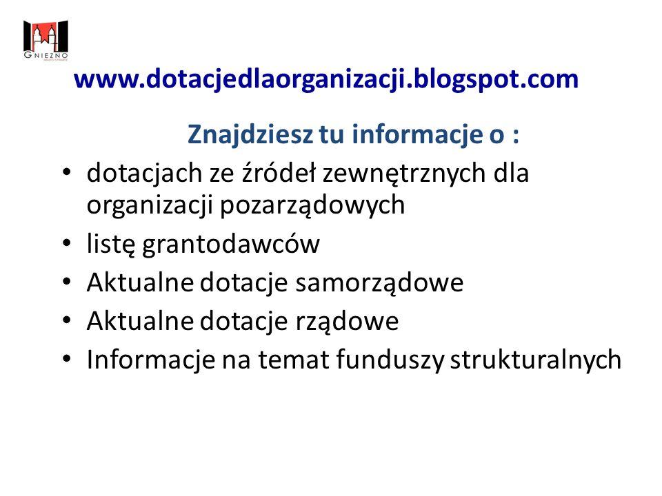 www.dotacjedlaorganizacji.blogspot.com Znajdziesz tu informacje o : dotacjach ze źródeł zewnętrznych dla organizacji pozarządowych listę grantodawców Aktualne dotacje samorządowe Aktualne dotacje rządowe Informacje na temat funduszy strukturalnych