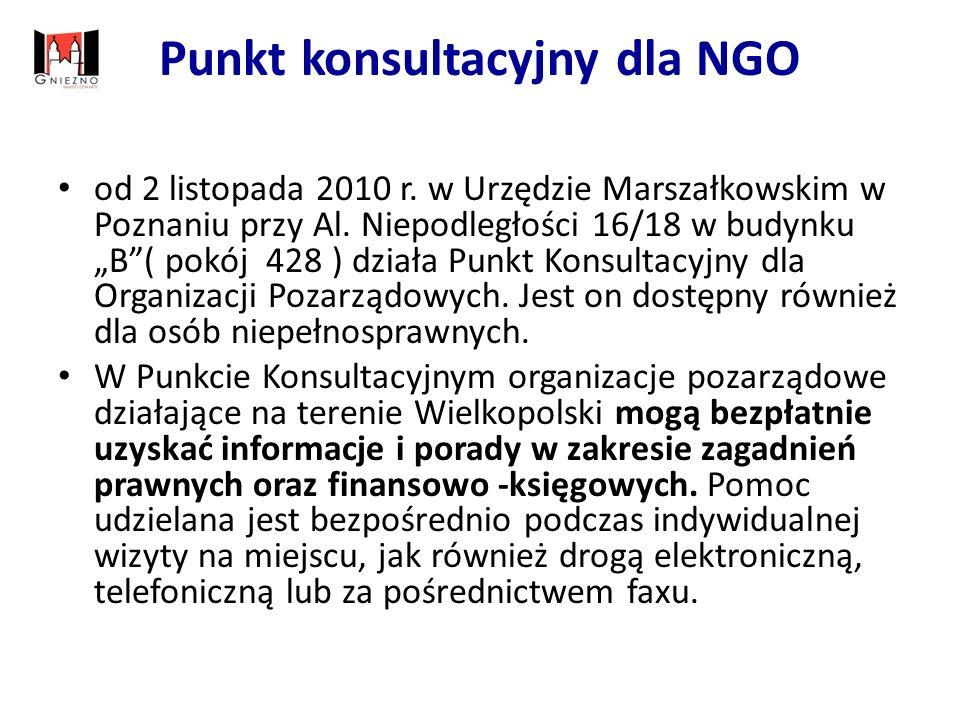 Punkt konsultacyjny dla NGO od 2 listopada 2010 r.